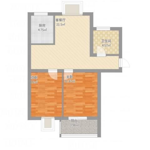 嘉怡花园2室1厅1卫1厨66.30㎡户型图