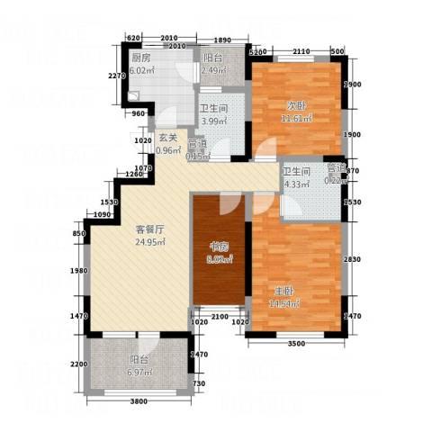 五矿・铂海岸3室1厅2卫1厨120.00㎡户型图
