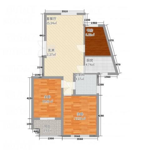 卓晟园3室1厅1卫1厨98.00㎡户型图
