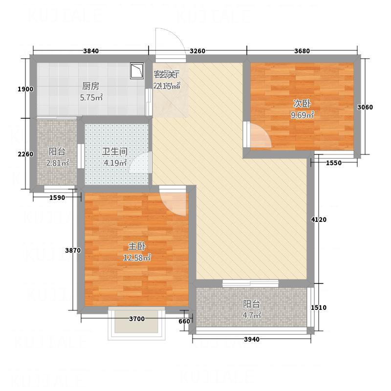 华泰・玉景台4.23㎡9423户型2室2厅1卫1厨