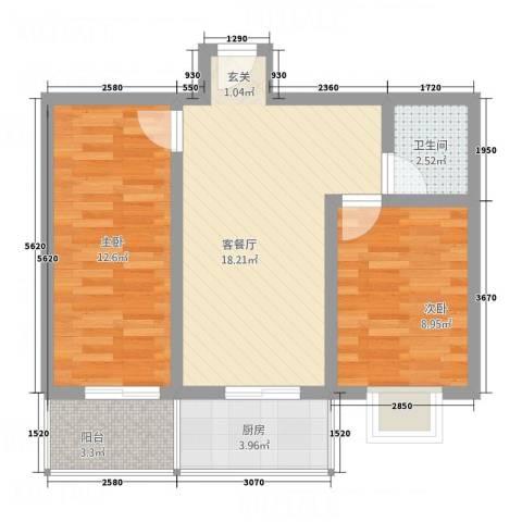 幸福苑2室1厅1卫1厨57.60㎡户型图