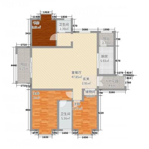 金吉华冠苑3室1厅2卫1厨162.00㎡户型图