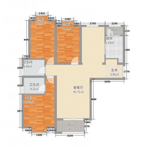 金吉华冠苑3室1厅2卫1厨143.00㎡户型图