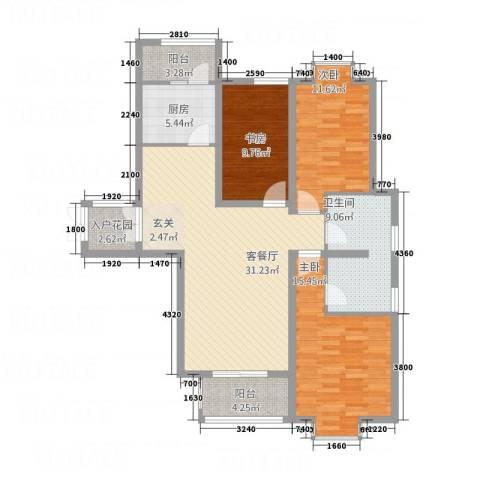 金吉华冠苑3室1厅1卫1厨132.00㎡户型图