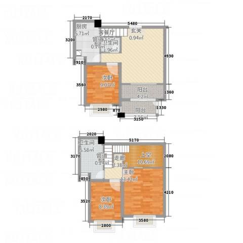 德汇公馆3室1厅2卫1厨96.30㎡户型图