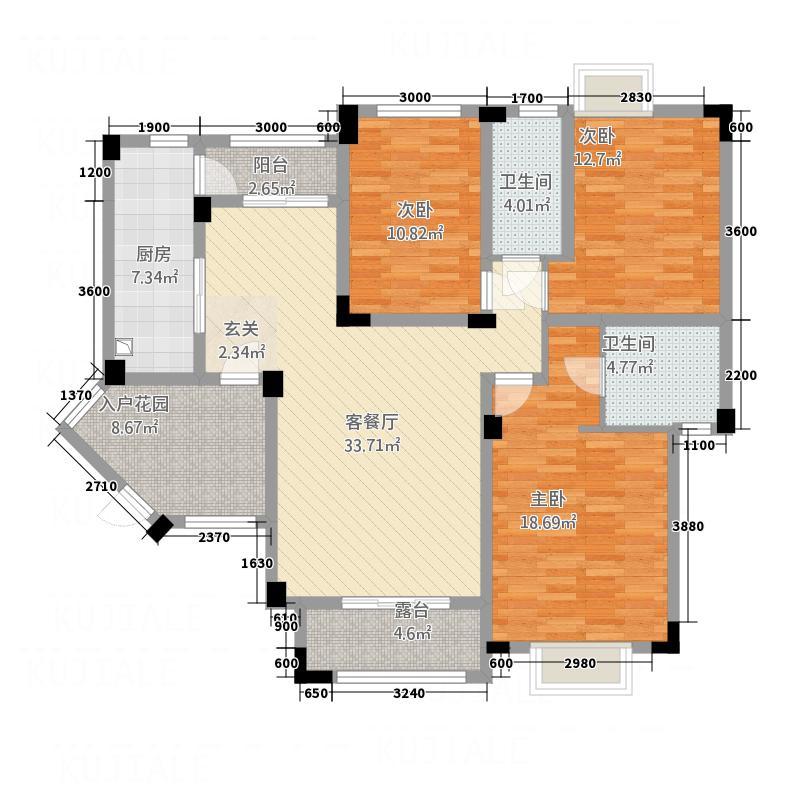 空间爱琴海123.20㎡空间爱琴海爱琴海E户型3室2厅2卫1厨