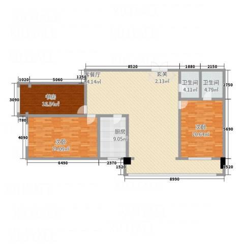 珠江名府3室1厅2卫1厨200.00㎡户型图