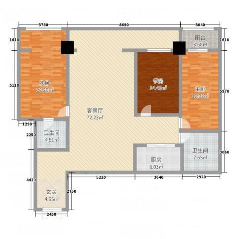 珠江名府3室1厅2卫1厨208.00㎡户型图