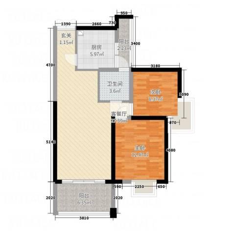 世纪城龙耀苑2室1厅1卫1厨96.00㎡户型图