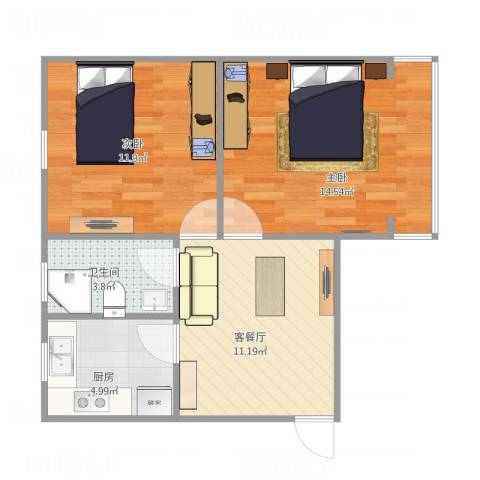 十五家园2室1厅1卫1厨63.00㎡户型图