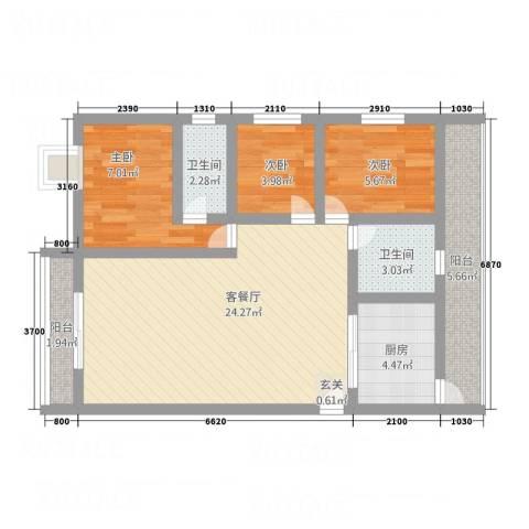 东泰花园3室1厅2卫1厨85.00㎡户型图