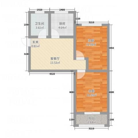 夕照新村2室1厅1卫1厨56.00㎡户型图
