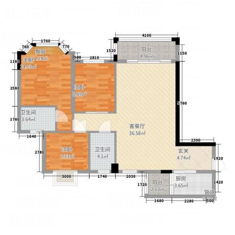 三朵向日葵3室1厅2卫1厨111.00㎡户型图