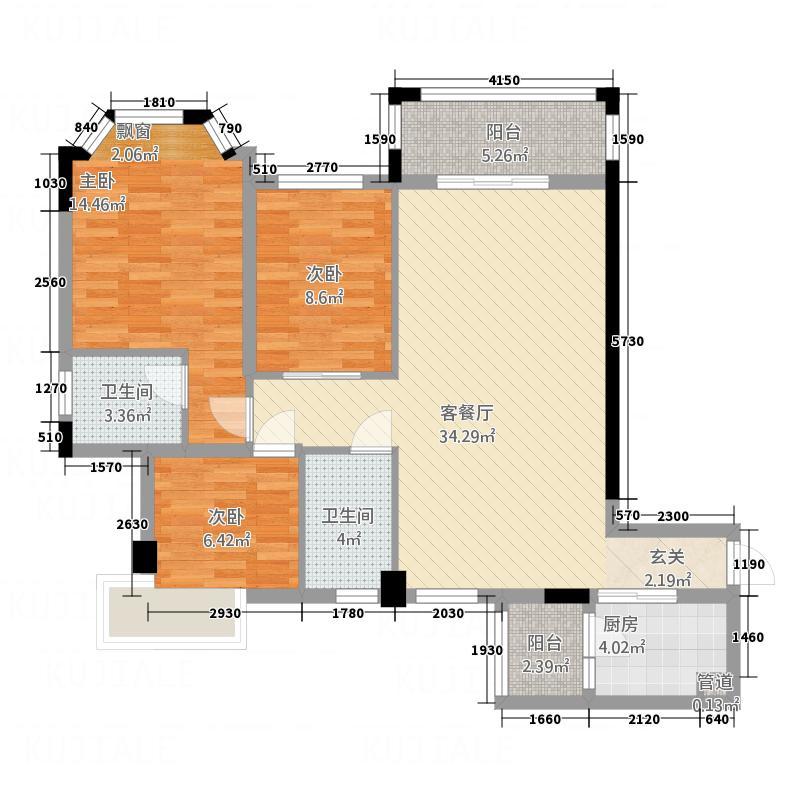 三朵向日葵1.53㎡1栋A户型3室2厅2卫1厨