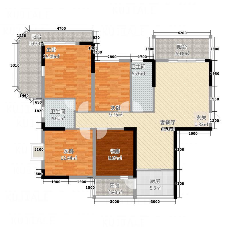恒大龙庭12183.22㎡1#、2#、10#、12#楼户型4室2厅2卫1厨