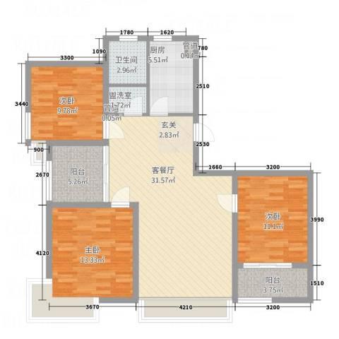 升辉苑3室2厅1卫1厨122.00㎡户型图