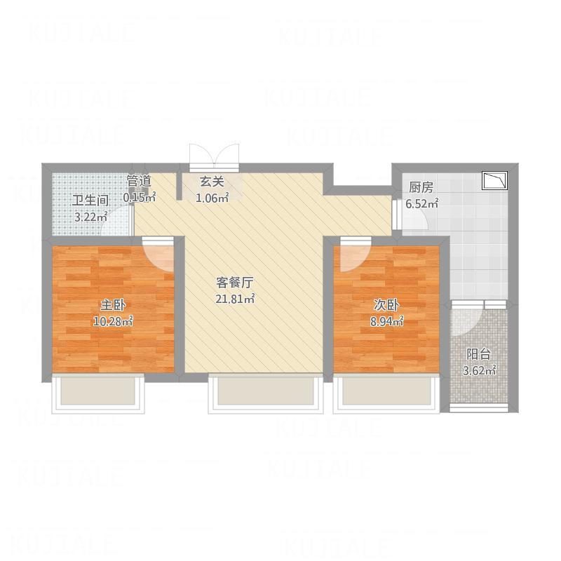 大庆_绿地金融官邸_A1两室两厅一卫91㎡