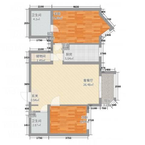 艺水芳园2室1厅2卫1厨66.53㎡户型图
