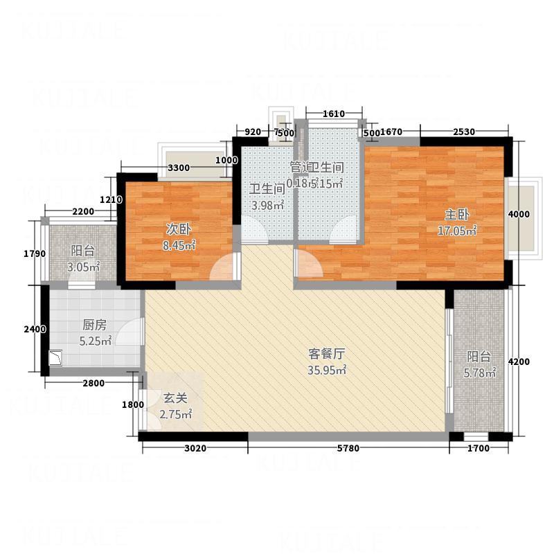 中天维港111.14㎡风之星号户型2室2厅2卫