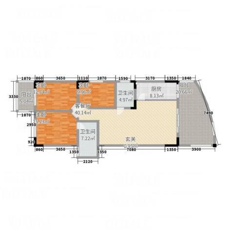 宏明大厦3室1厅2卫1厨144.00㎡户型图