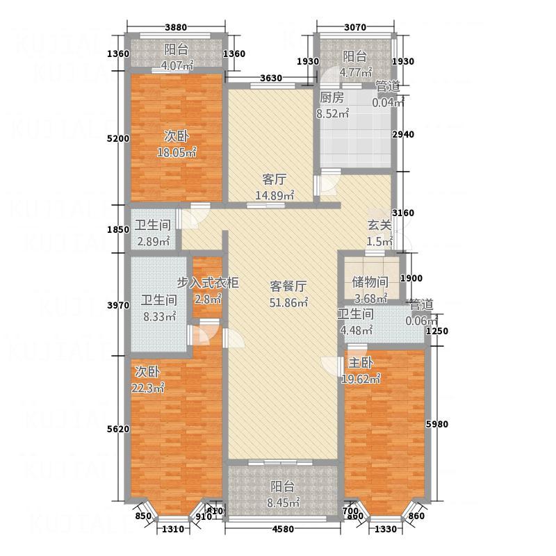 蓝堡国际公寓251.89㎡北区B户型3室2厅2卫1厨