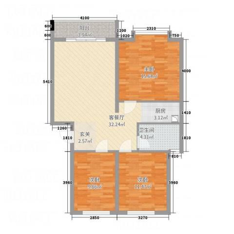 榄园3室1厅1卫0厨109.00㎡户型图