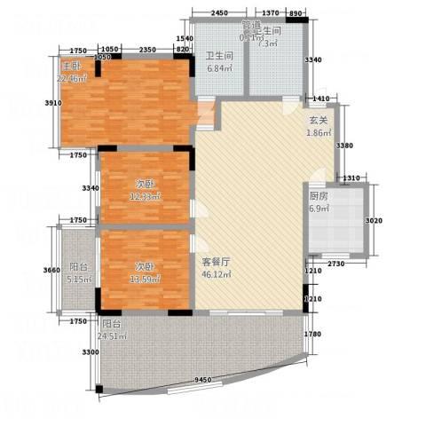 宏明大厦3室1厅2卫1厨166.00㎡户型图