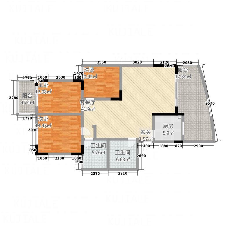 宏明大厦14.43㎡E户型3室2厅2卫1厨