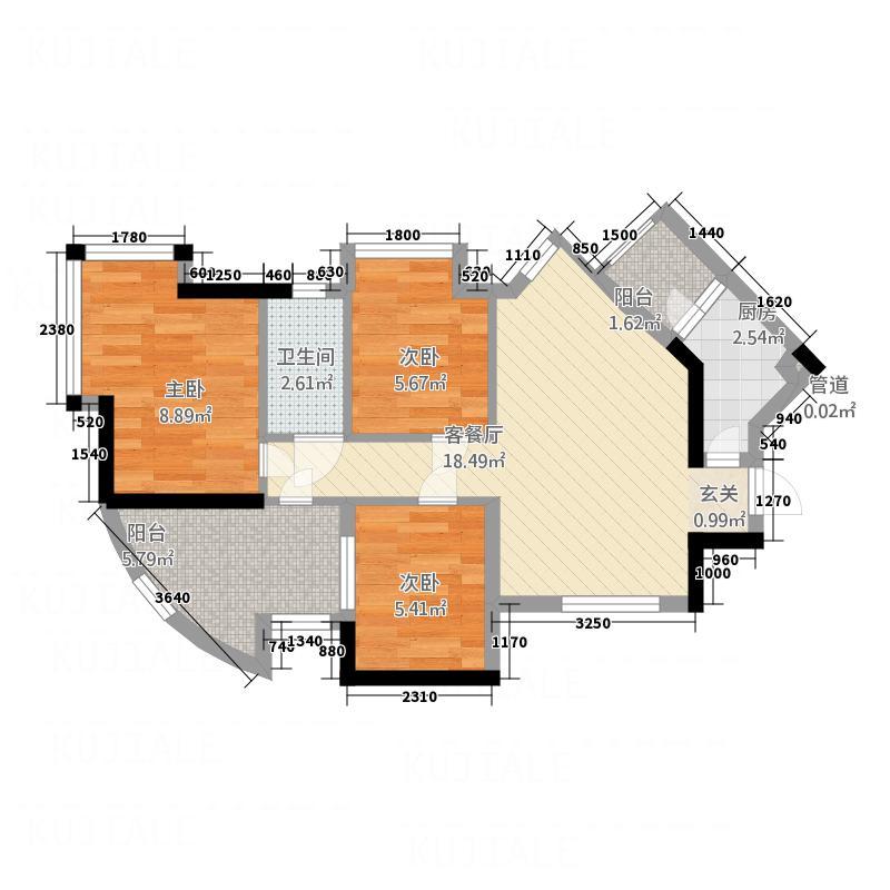 怡康家园73.25㎡怡康家园户型图百合居H-B03室2厅1卫1厨户型3室2厅1卫1厨