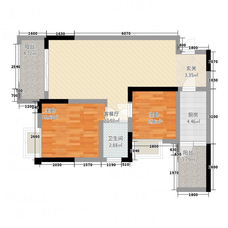 滨江・天乙广场82.10㎡B2户型2室2厅2卫1厨