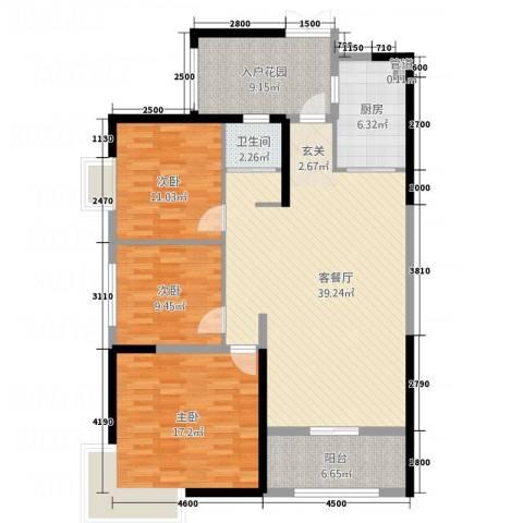 红旗区军属新村3室1厅1卫1厨143.00㎡户型图