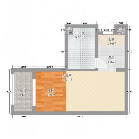 中环国际广场1厅1卫0厨36.24㎡户型图