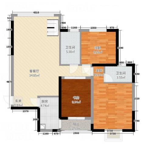 一品名门云墅3室1厅2卫1厨122.00㎡户型图