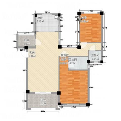 茗阳天下2室1厅2卫1厨91.15㎡户型图