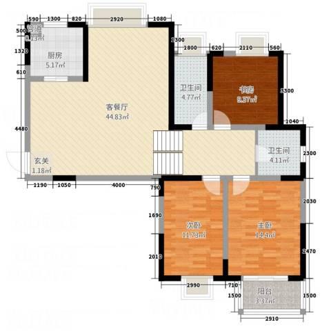 翡翠湾花园3室1厅2卫1厨125.00㎡户型图