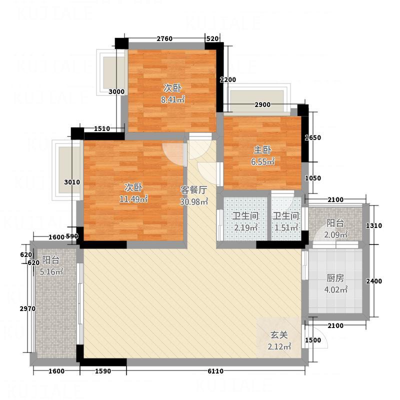 滨江・天乙广场8.11㎡B1户型3室2厅2卫1厨
