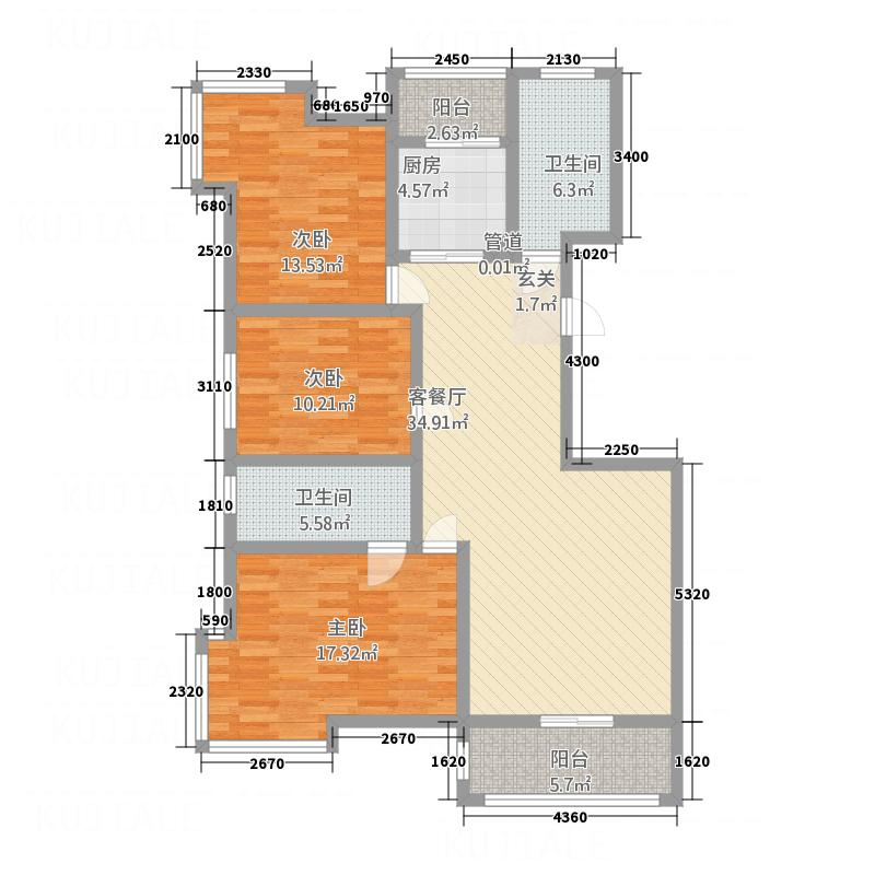 富绅世纪山江127.70㎡A3/A5户型3室2厅2卫1厨