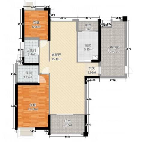 华嬉盛世2室1厅2卫1厨130.00㎡户型图