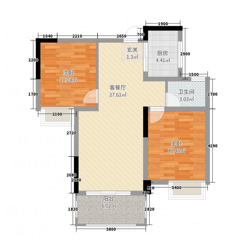 名门峰境85.87㎡E户型2室2厅1卫1厨