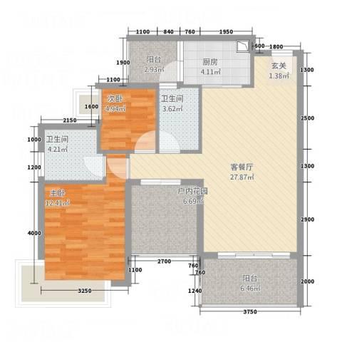 锦江盛世2室1厅2卫1厨105.00㎡户型图