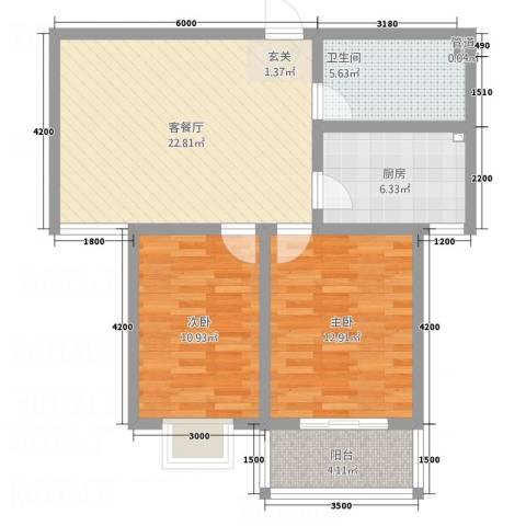 东润・公园壹号2室1厅1卫1厨84.00㎡户型图
