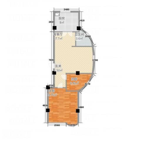 祥和家园二期2室1厅1卫1厨90.00㎡户型图
