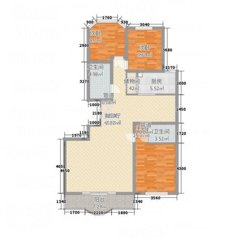 西安锦园3室1厅2卫1厨147.00㎡户型图