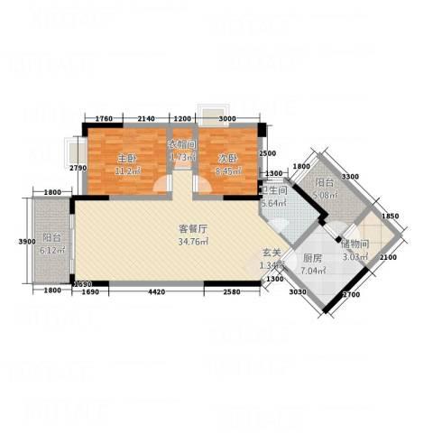 中新城上城2室1厅1卫1厨118.00㎡户型图
