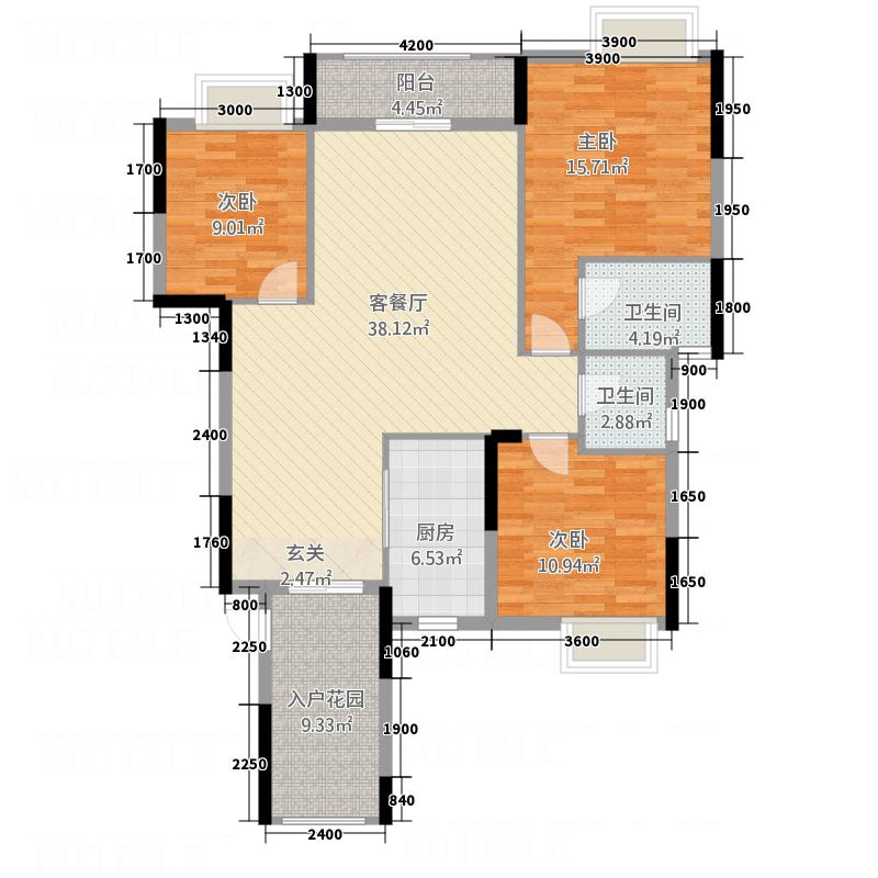 东城华府127.50㎡1#楼A户型3室2厅2卫1厨