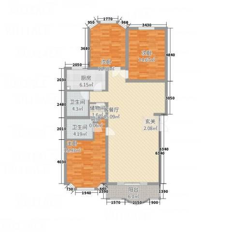 西安锦园3室1厅2卫1厨154.00㎡户型图