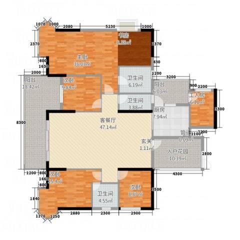 怡景湾三期悦峰4室1厅3卫1厨180.86㎡户型图