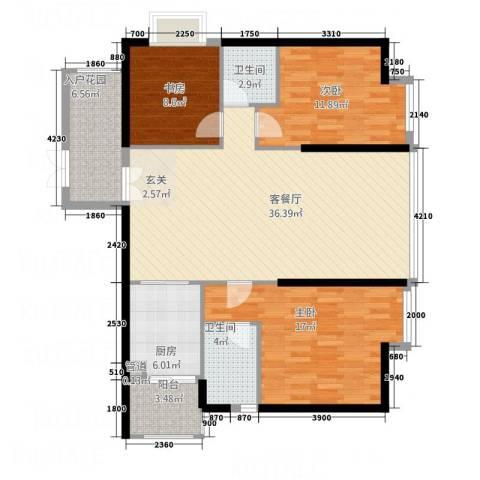 海逸花园3室1厅2卫1厨96.97㎡户型图