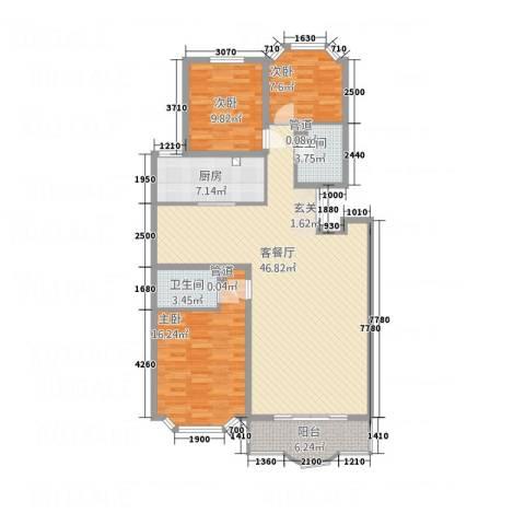 西安锦园3室1厅2卫1厨141.00㎡户型图