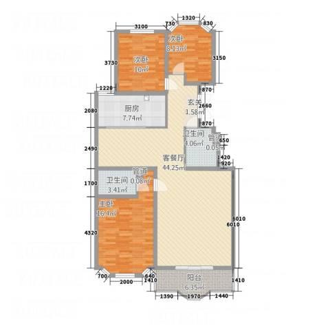 西安锦园3室1厅2卫1厨142.00㎡户型图